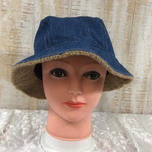 Vintage Denim Bucket Hat with Sherpa under brim